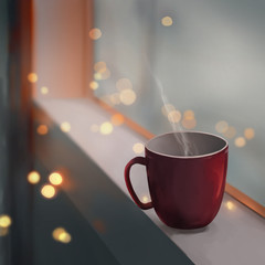 red cup of coffee and window