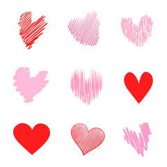 Multicolored trendy hearts on isolated white background. Hand drawn set of love signs. Unique abstract signs for design. Line art creation. Colored illustration. Elements for poster or flyer