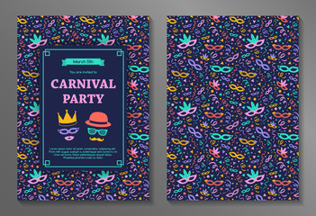 Carnival Party invitation with colorful background. Two sided card. Vector