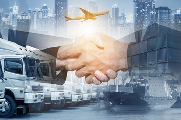 Multiple exposure of business logistics shipping and transportation Air freight cooperation & partnership concept.
