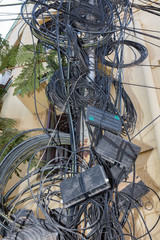 Chennai / India - February 2018: Cables on a pole.