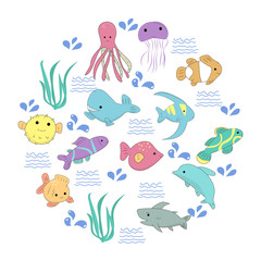 Set of Kawaii marine creatures in a circle. For any design purposes. Vector.