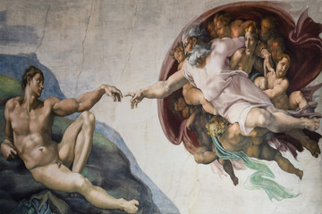 Rome Italy March 08 creation of Adam by Michelangelo  Wall mural