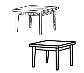 collection of sketch tables, isolated