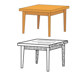 vector, isolated table, sketch of a table