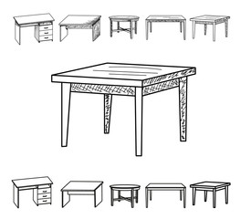 vector, isolated sketch of a table, collection