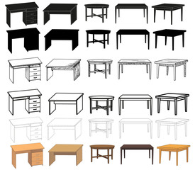 vector, isolated  desk, sketch of a table, collection, set of silhouettes of a table
