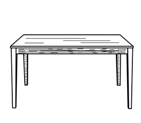 vector, isolated sketch of a table on a white background