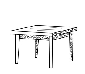 isolated sketch of a table on a white background