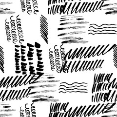 Seamless pattern hand drawn with a brush strokes. Abstract brushstrokes vector illustration.