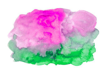 Watercolor colorful background. pink and green colors.