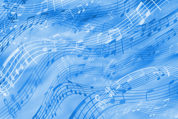 Cheerful abstract background on a musical theme in blue tones.
