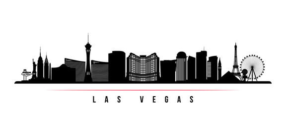 Las Vegas city skyline horizontal banner. Black and white silhouette of Las Vegas city, USA. Vector template for your design. Wall mural