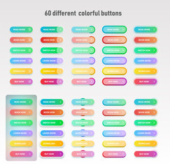 Colorful button set for websites or online usage, normal, hover and pressed stages, vector illustration
