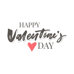 Happy Valentine's Day hand drawn brush lettering with long shadow, isolated on rich red background. Perfect for holiday flat design. Vector illustration.