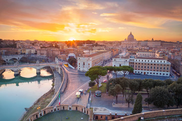 Rome, Vatican City. Aerial cityscape image of Vatican City with the Saint Peter Basilica, Rome, Italy during beautiful sunset.
