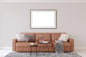 Interior and frame mockup. 3d rendering.
