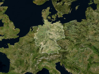 Satellite image of Germany with borders (Isolated imagery of Germany. Elements of this image furnished by NASA) - fototapety na wymiar
