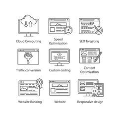 SEO linear icons set