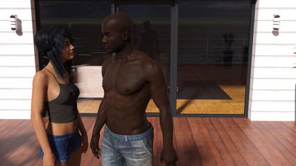 Illustration of a woman talking to a man on an apartment deck.