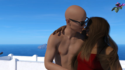 Illustration of a woman talking to a man while closely embracing him with the sea, islands and blue sky in the background.