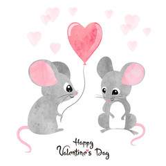 Watercolor cute mice in love. Valentine's day card design.