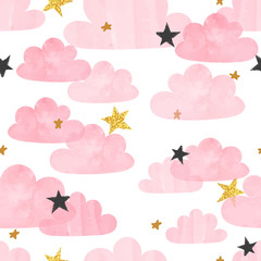 Seamless vector pink watercolor clouds and stars pattern.