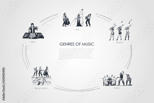 Genres of music - jazz, dance, rock, edm, rock n roll music vector