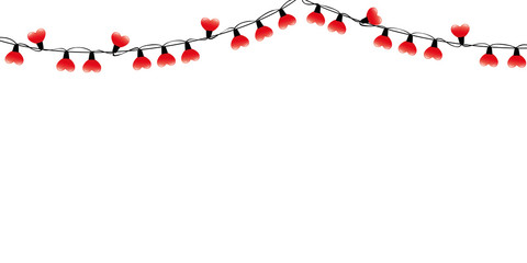 red heart shaped fairy lights isolated on white background vector illustration EPS10