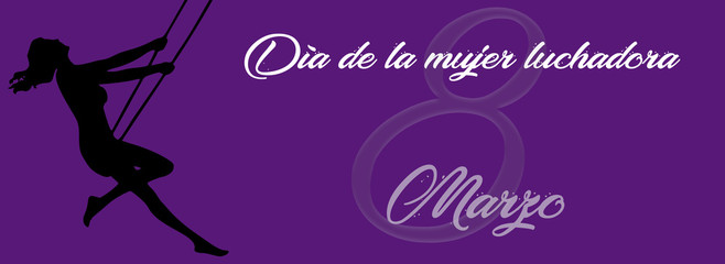 8 March Happy Women's Day banner, phrase in Spanish.