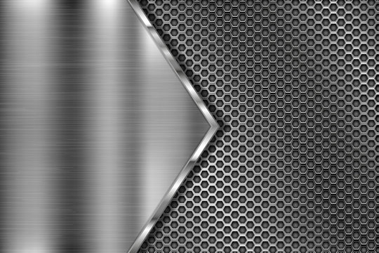 Metal perforated 3d texture with brushed iron triangle