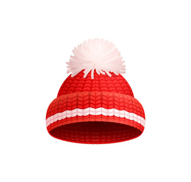 Knitted Red Hat with White Pom-Pom Vector Icon
