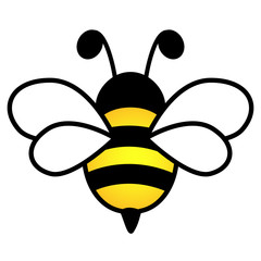 Lovely design of a yellow and black bee on a white background