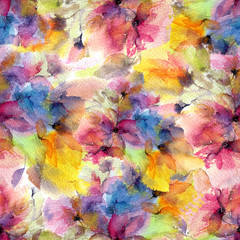 Floral seamless pattern. Watercolor floral background. Watercolor flowers. Colorful painting flowers.