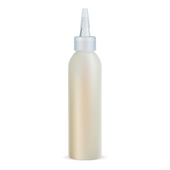 Hair Oil Dropper Bottle with Clear Cap. Realistic Vial for Protection Cosmetic with Vitamin and Shiny Effect. Collagen Fluid Drop. Camelia Flower Repair and Recover Spa Liquid Container.