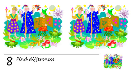 Logic puzzle game for children and adults. Need to find 8 differences. Printable page for baby book. Developing skills for counting. Vector cartoon image.