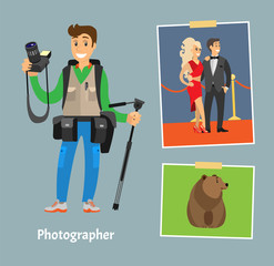 Photographer with Professional Camera and Tripod