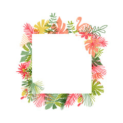Tropical flower and flamingo bird hand drawn frame, illustration isolated on white background. Botanical framing, exotic plant leaf and bird framework, lets flamingle