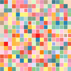 The mosaic of a bright colorful squares on a white background.