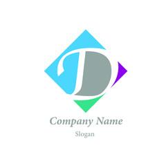 """Modern vector logo of character """"D"""""""