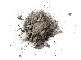 Coal ash isolated on white background, top view