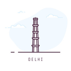 Delhi city line style illustration. Big and famous Qutub Minar tower in Delhi. India architecture city symbol of Delhi. Outline building vector illustration. Travel and tourism banner.