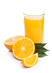 Glass of organic fresh orange juice with fruits