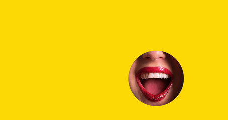 Red lips and shiny smile through hole in yellow paper background. Make up artist, beauty cosmetics sale. Spring, woman day concept. Beauty salon advertising banner with copy space