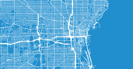 Urban vector city map of Milwaukee, Wisconsin, United States of America