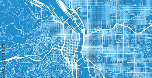 Urban vector city map of Portland, Oregon, United States of America on