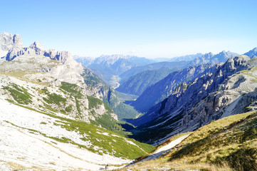 atmospheric mountain view of Alps. Traveling and exploring the mountains