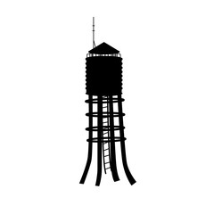 Black silhouette of water tower on white background. Industrial landscape. Old steel tank. Vector illustration