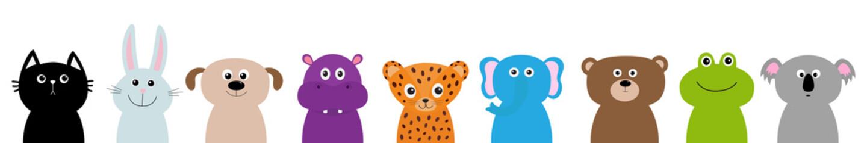 Zoo animal head face body set. Cute cartoon character Baby children education. Cat, rabbit, hare, jaguar, dog, hippopotamus elephant, bear frog koala. Flat design. Isolated. White background.