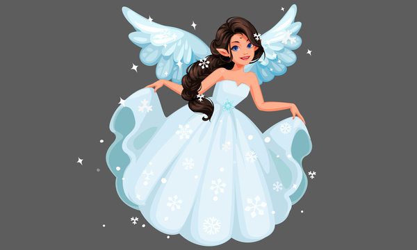 Beautiful cute snow fairy with long braided hairstyle holding her long snowy dress